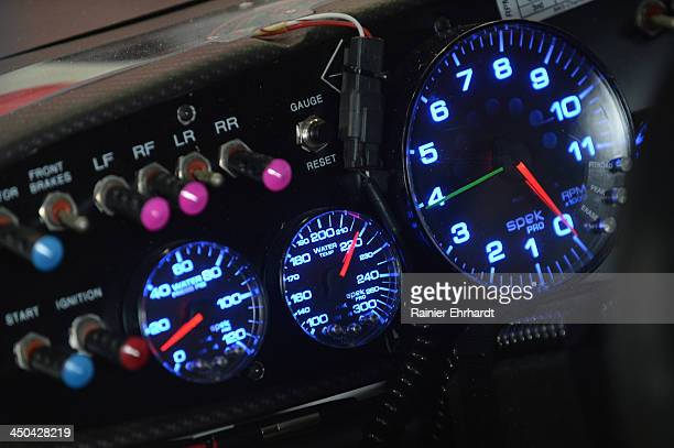 A view of car gauges during practice for the NASCAR Nationwide Series Dollar General 300 at Charlotte Motor Speedway on October 10 2013 in Concord...