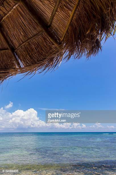 View of Caribbean Ocean under palapa umbrella.