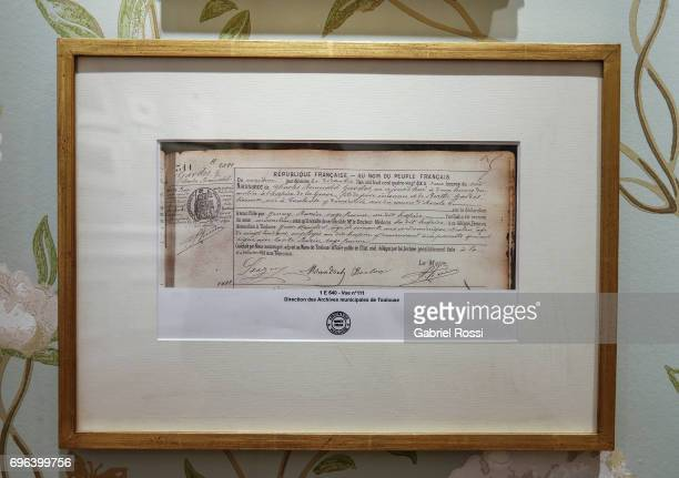 A view of Carlos Gardel's birth certificate which demonstrates he was born in France at Casa Carlos Gardel Museum on June 15 2017 in Buenos Aires...