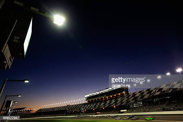 A view of cars on track during practice for the NASCAR Sprint Cup Series Sprint Unlimited at Daytona International Speedway on February 14 2014 in...