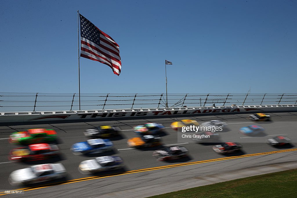 A view of cars on track during the NASCAR Sprint Cup Series Aaron's 499 at Talladega Superspeedway on May 4, 2014 in Talladega, Alabama.
