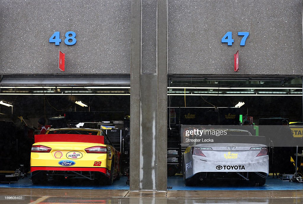 A view of cars parked in the garage during NASCAR Testing at Charlotte Motor Speedway at Charlotte Motor Speedway on January 17, 2013 in Charlotte, North Carolina.