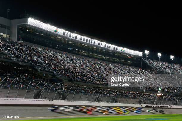 A view of cars racing during the Monster Energy NASCAR Cup Series CanAm Duel 1 at Daytona International Speedway on February 23 2017 in Daytona Beach...