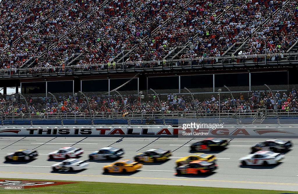 A view of cars racing during the NASCAR Nationwide Series Aaron's 312 at Talladega Superspeedway on May 3 2014 in Talladega Alabama