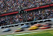 A view of cars racing the NASCAR Sprint Cup Series 57th Annual Daytona 500 at Daytona International Speedway on February 22 2015 in Daytona Beach...