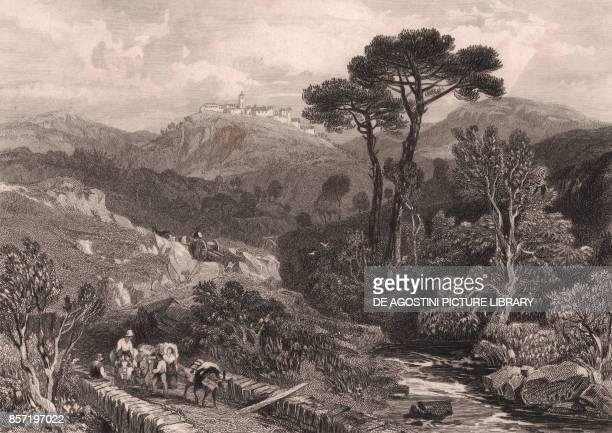 View of Castel Madama Lazio Italy steel engraving from a drawing by James Duffield Harding ca 139x99 cm published by Jennings London