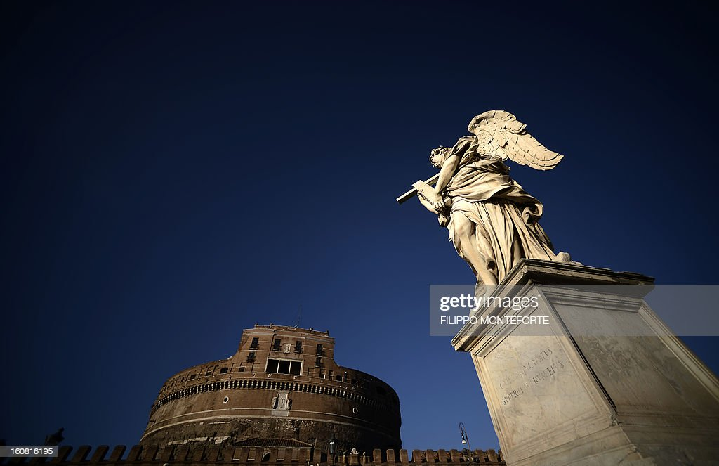A view of Castel Sant'Angelo where the exhibition 'Peter's Journey' is being held on February 6, 2013. The exhibit, opened until May 1, 2013, is one of the initiatives of the Pope Benedict XVI's Year of Faith (October 11, 2012-November 24, 2013) Year of Faith, a collaborative effort between nine countries that will include pieces ranging from the 4th and 5th centuries all the way to the beginning of the 20th. AFP PHOTO / FILIPPO MONTEFORTE