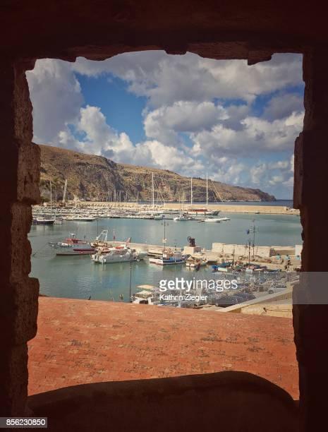 View of Castellamare del Golfo port, Province of Trapani, Sicily