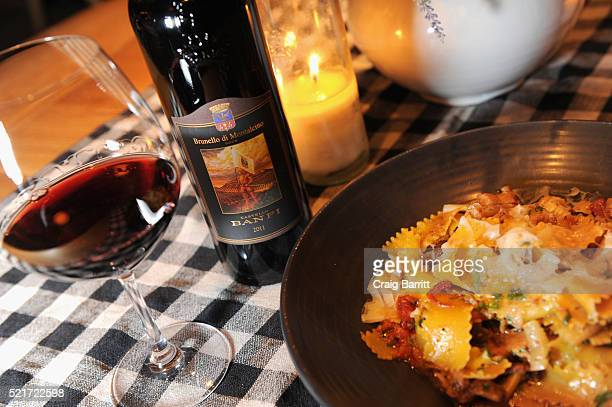 View of Castello Banfi Brunello paired with maltagliati braised veal smoked cabbage braised celery and green peppercorn at The 8th Annual New York...