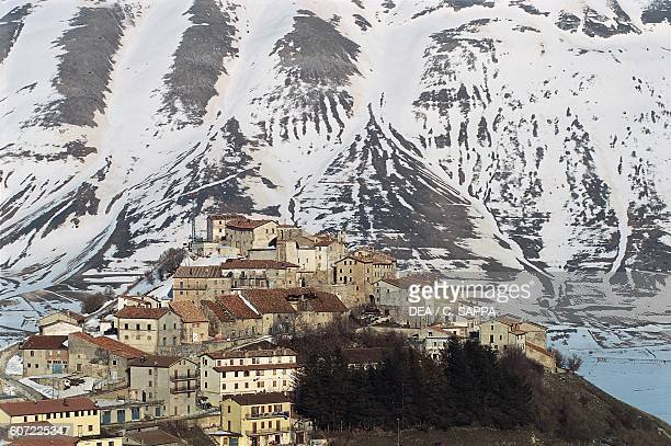 View of Castelluccio di Norcia with snow Sibillini Mountains national park Umbria Italy