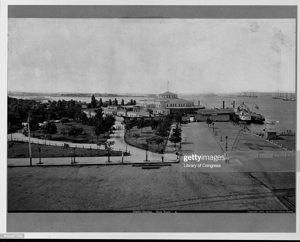 A view of Castle Garden on the southern tip of Manhattan Castle Garden served as an immigration center between 1855 and 1889 prior to that it...