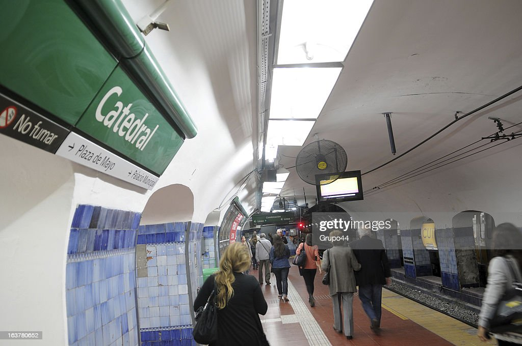 View of Catedral Station of Line D of the Buenos Aires Metro system on March 15, 2013 in Buenos Aires, Argentina. Jorge Mario Bergoglio used to get off in this station to go to the Metropolitan Cathedral to celebrate mass. It was common to see him using public transport. Since his election as new Pope of the Catholic Church, international media outlets have pointed out the austere life of the former Argentine Archbishop. Jorge Mario Bergoglio, now known as Pope Francis, spent his early years in the neighborhood of Flores, in Buenos Aires City, where he was born on December 17th of 1936. He is one of the five children of a couple of Italian immigrants. He graduated as a chemistry technician at E.N.E.T Nº 27 Hipólito Yrigoyen School and when he was 21 he decided to join the Catholic Seminary in Villa Devoto, Buenos Aires. Member of the Jesuits, he became a priest on December of 1969. He graduated in Philosophy from the Colegio Máximo San José in San Miguel, in the outskirts of Buenos Aires. In 1992 he was appointed Bishop of Buenos Aires. Six years later, he replaced Antonio Quarracino. In 2001 was created a cardinal by Pope John Paul II with the title of cardinal-priest of San Roberto Bellarmino. He had several administrative positions in the Roman Curia. On March 13th of 2013, he was elected Pope by the Conclave. Francis, as he decided to be called in honor to the Saint Francis of Asis, is the Pope number 266 and the first non-European pontiff of the new era.