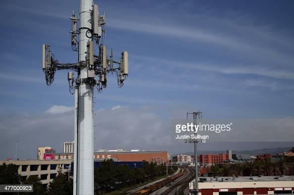 A view of cellular communication towers on March 6 2014 in Emeryville California The US Labor Department is asking mobile phone providers to increase...