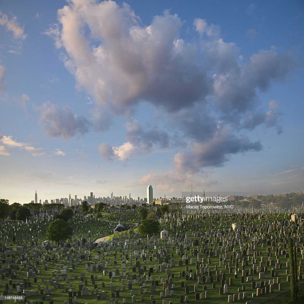 View of cemetery against Manhattan skyline : Stock Photo