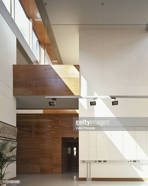 View of central double height space showing timber detailing artificial lighting and roof light Urban Institute of Ireland Dublin Ireland Architect...