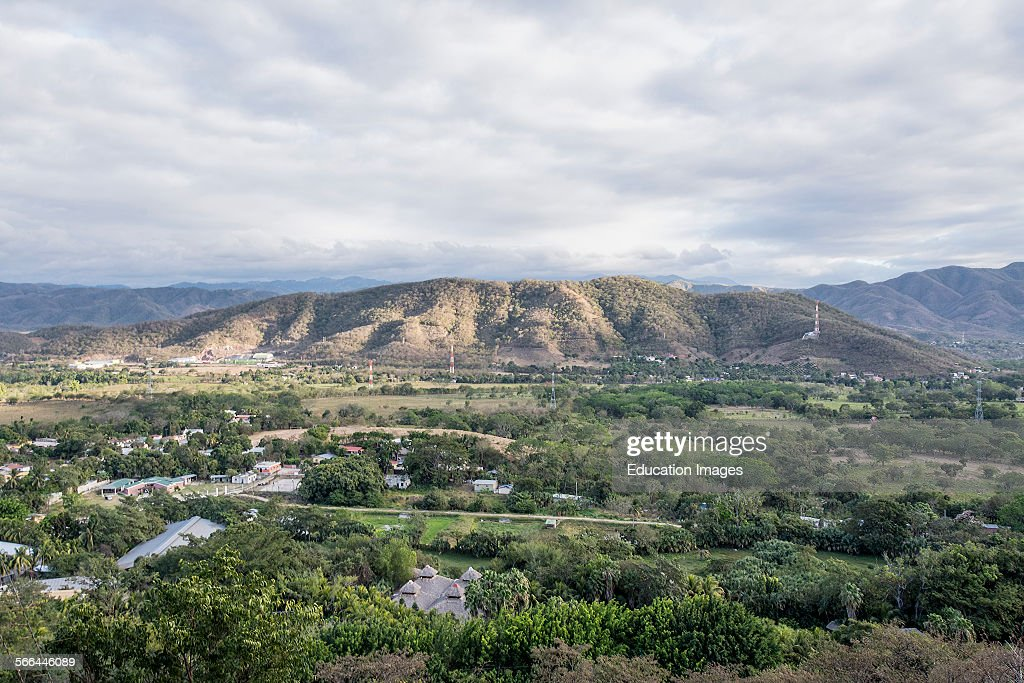 View of central highlands and valley bordered by the Sierra de las Minas mountains in Guatemala