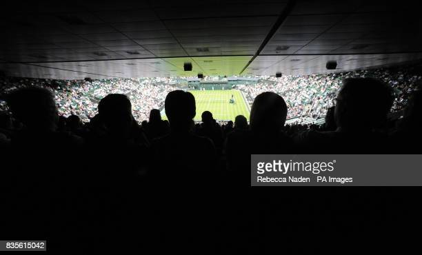 A view of Centre Court as France's Julien Benneteau Serbia's Novak Djokovic during the 2009 Wimbledon Championships at the All England Lawn Tennis...