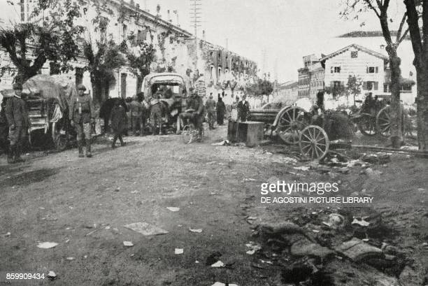 View of Cervignano del Friuli immediately after the entry of the Italian troops Italy World War I from l'Illustrazione Italiana Year XLV No 45...