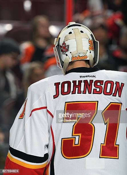 A view of Chad Johnson of the Calgary Flames during a stoppage in play against the Philadelphia Flyers on November 27 2016 at the Wells Fargo Center...
