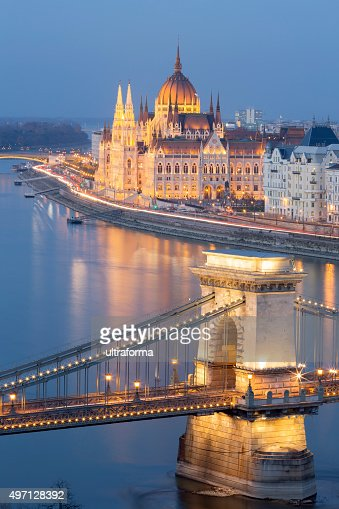 View of Chain Bridge and Parliament in Budapest at dusk