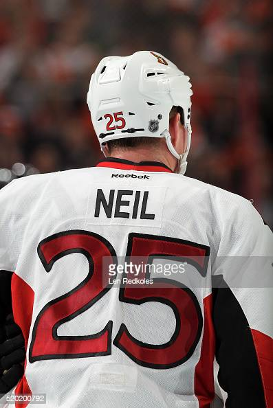 A view of Chris Neil of the Ottawa Senators during his game against the Philadelphia Flyers on April 2 2016 at the Wells Fargo Center in Philadelphia...