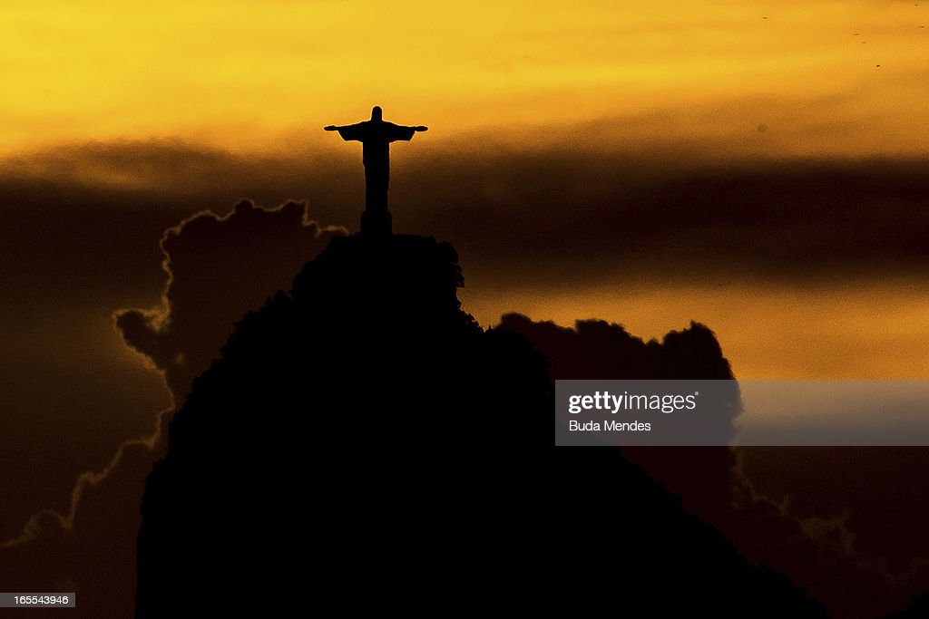 View of Christ the Redeemer on April 04, 2013 in Rio de Janeiro, Brazil. In the following years the city will host very important events, such as the Confederations Cup and the World Youth Day t, FIFA World Cup in 2014, America Cup in 2015 and the Summer Olympics in 2016.