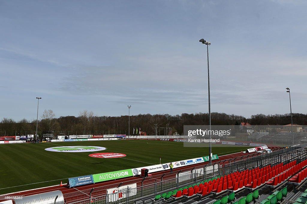 A view of circular advertising Fussballde during the Regionalliga match between FSV Zwickau and FC Carl Zeiss Jena at Sportforum Sojus 31 on April 12...