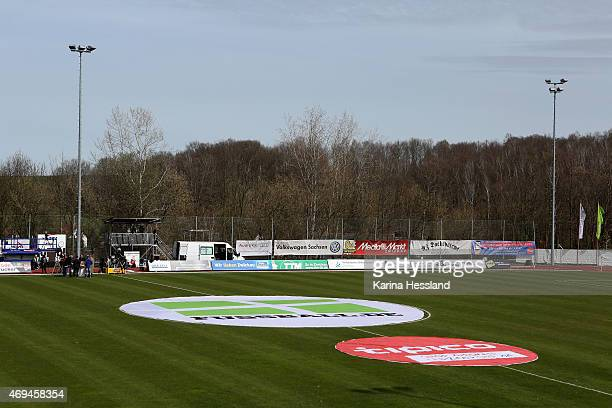 A view of circular advertising Fussballde during the Regionalliga match between FSV Zwickau and FC Carl Zeiss Jena at Sportforum Sojus 31 on April 12...
