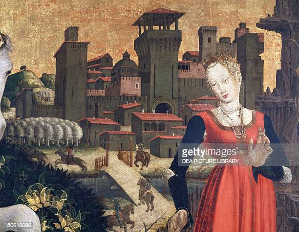 View of city and Castle detail of St George fighting the dragon painting by the Master of Lombard 15th century