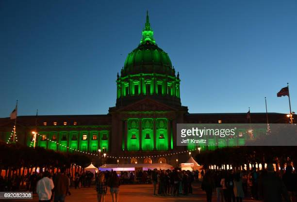 A view of City Hall during Colossal Clusterfest at Civic Center Plaza and The Bill Graham Civic Auditorium on June 3 2017 in San Francisco California