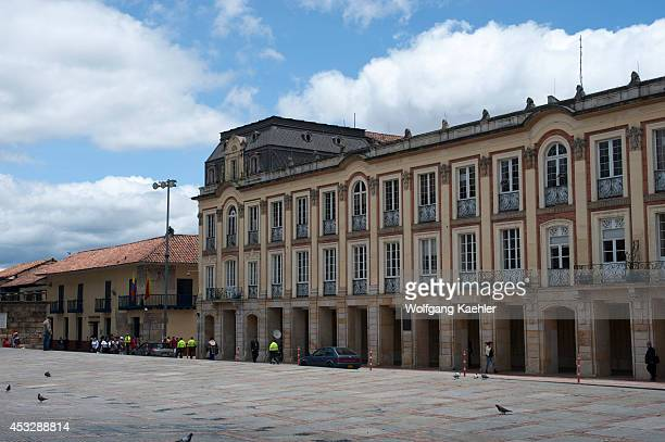 View of City Hall on Plaza de Bolivar in La Candelaria the old town of Bogota Colombia