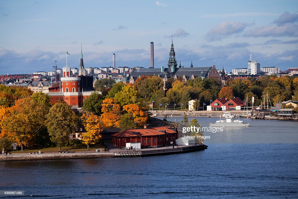 View of city harbor
