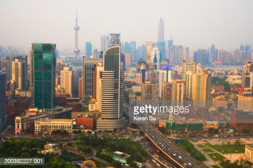 View of city near People's Square, Shanghai, China
