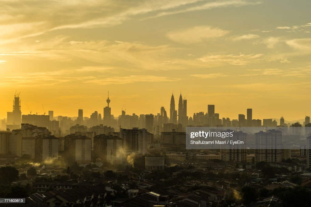 View Of Cityscape Against Sky During Sunset : Stock Photo