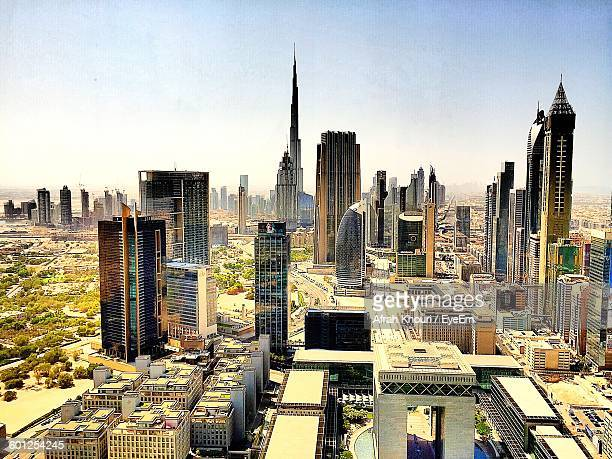 View Of Cityscape With Burj Khalifa Against Clear Sky