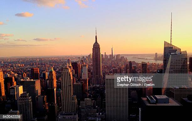 View Of Cityscape With Empire State Building During Sunset