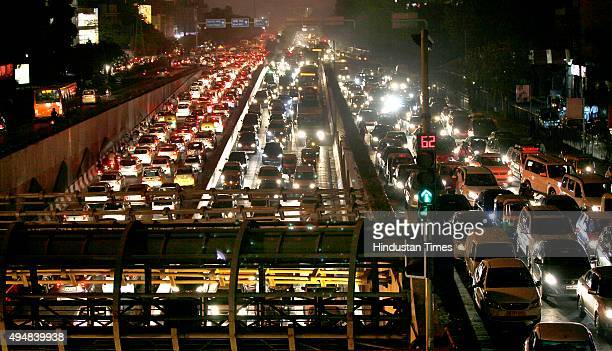 A view of clogged Ring road near Moolchand fly over as huge traffic jam was witnessed due to the ongoing IndiaAfrica Forum Summit on October 29 2015...