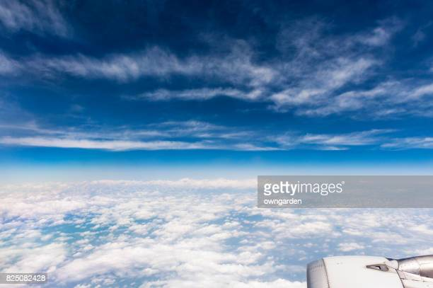 View of cloud-sky from the civil aviation aircraft