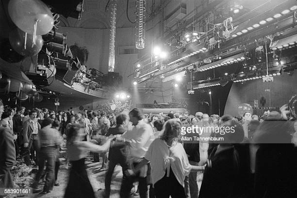 View of clubgoers on the dance floor of Studio 54 during the club's second anniversary party New York New York April 26 1979