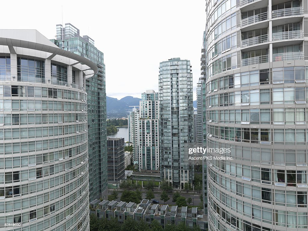 View of Coal Harbor (downtown area) from highrise : Stock Photo