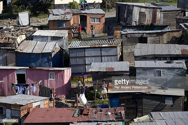 A view of colorful shacks on March 10 in Duncan Village a poor township outside East London South Africa This area is one of the most popular ANC...