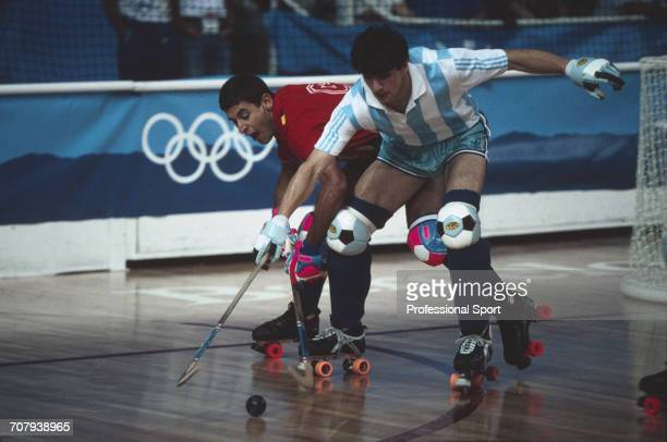 View of competition between Spain and Argentina in the final gold medal match of the roller hockey demonstration tournament at the 1992 Summer...