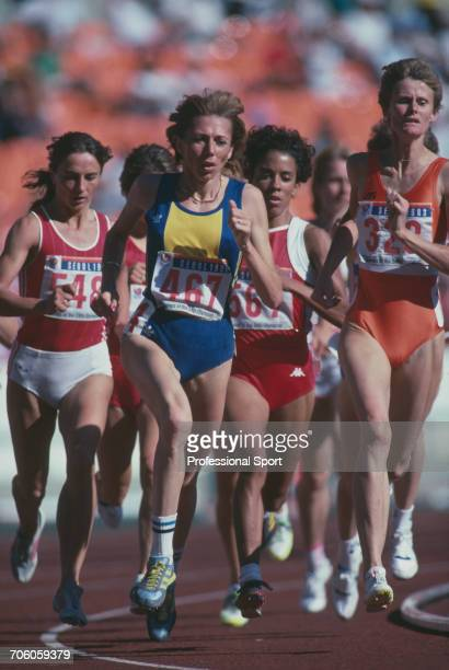 View of competition in round one of the Women's 1500 metres event with eventual bronze medal winner Tetyana Dorovskikh of the Soviet Union on far...