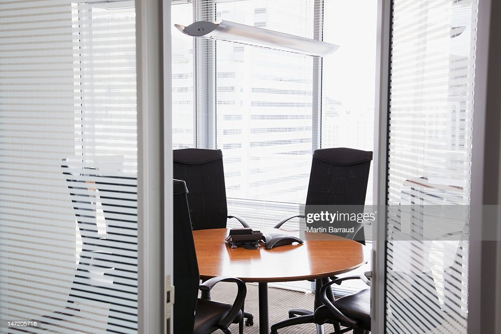 View of conference room from doorway : Stock Photo