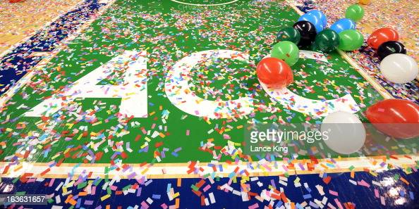 A view of confetti and balloons on the ACC logo following a game between the North Carolina Tar Heels and the Duke Blue Devils during the finals of...