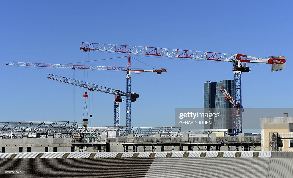 A view of construction near the CMA CGM tower on January 10, 2013, in the French southern city of Marseille.