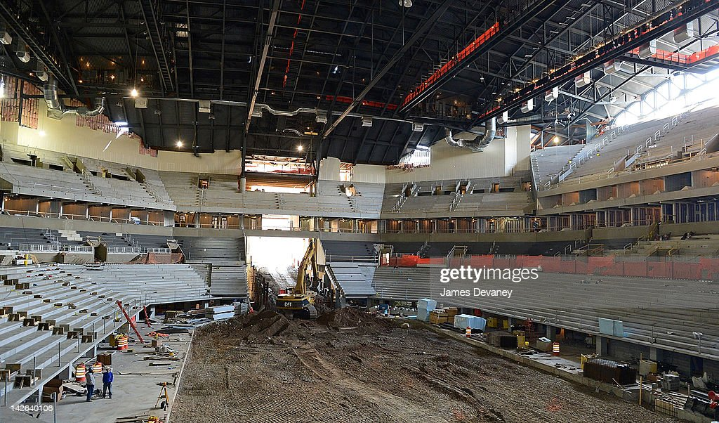 A view of construction work at the Barclays Center of Brooklyn on April 10, 2012 in New York City.