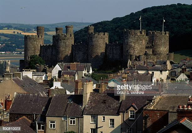 View of Conwy with the Castle 12831287 in the background Wales United Kingdom