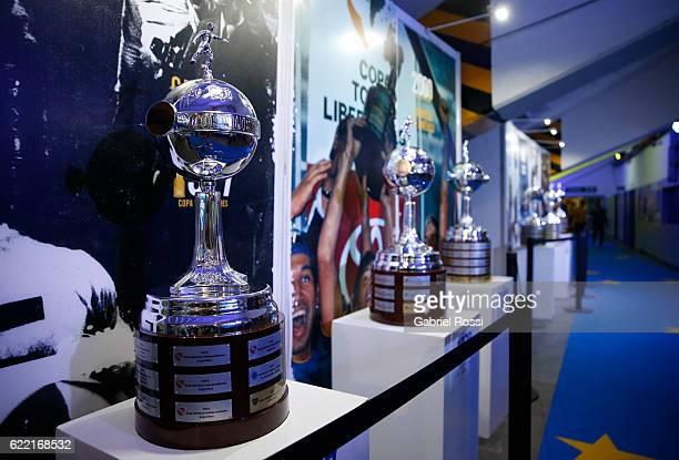 A view of Copa Libertadores trophys during Expo Boca Exhibiton at Alberto J Armando Stadium on November 10 2016 in Buenos Aires Argentina