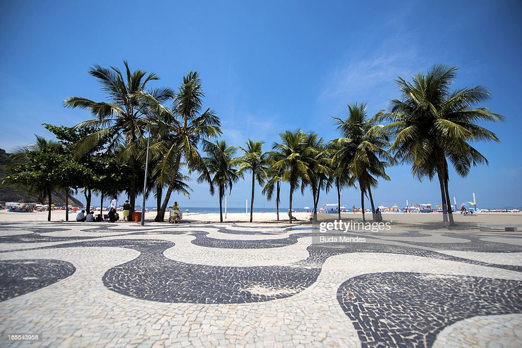 View of Copacabana Beach on April 04, 2013 in Rio de Janeiro, Brazil. In the following years the city will host very important events, such as the Confederations Cup and the World Youth Day, FIFA World Cup in 2014, America Cup in 2015 and the Summer Olympics in 2016.